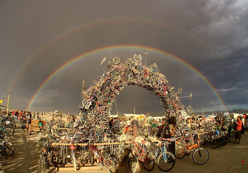 burning man art double rainbow bike art