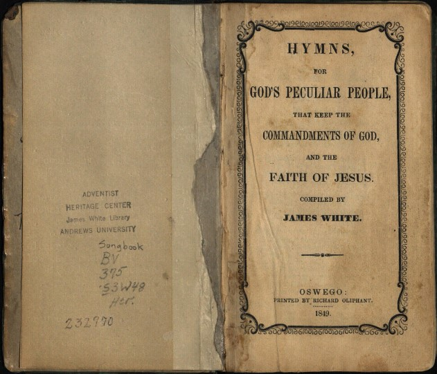 Inside cover-James White's 1849 Hymnal