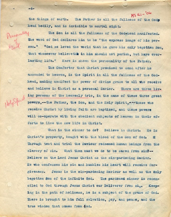 "Original typed manuscript of ""heavenly trio"" used for the Bible Training School publication."