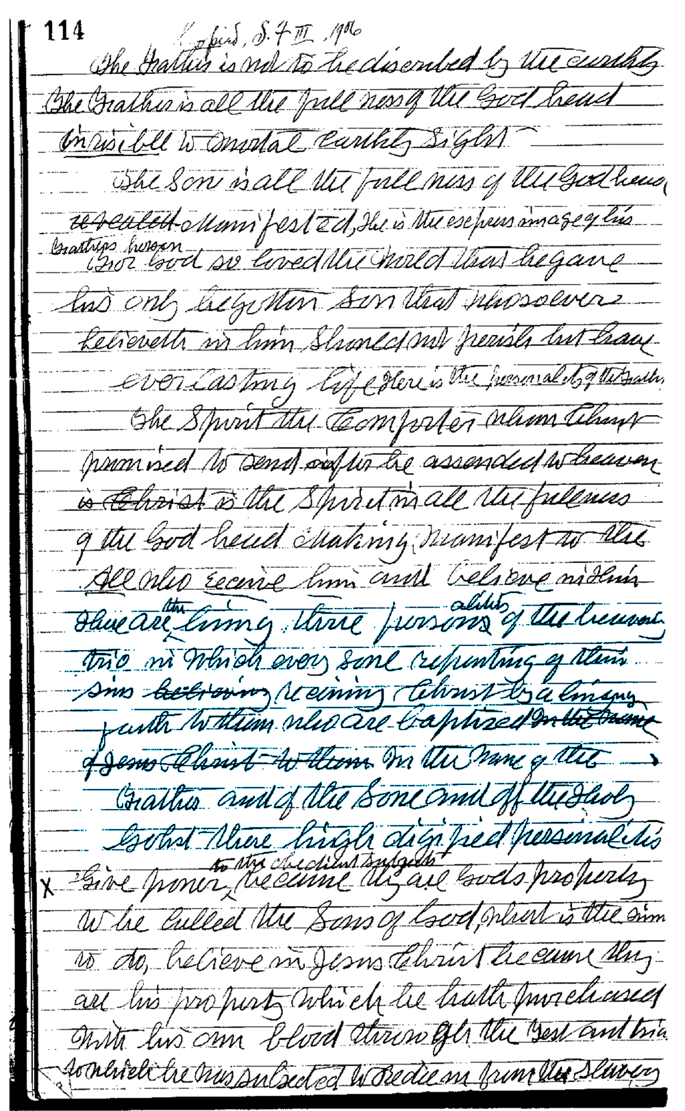 Photocopy of Original Ellen G. White's Manuscript in her own handwriting. The blue highlight was added by me for emphasis.