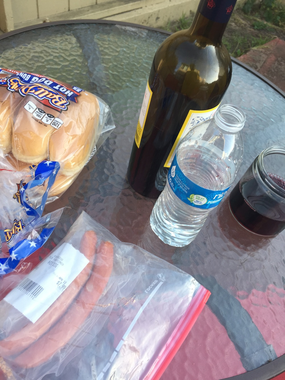 Hot dogs and wine for dinner lately.