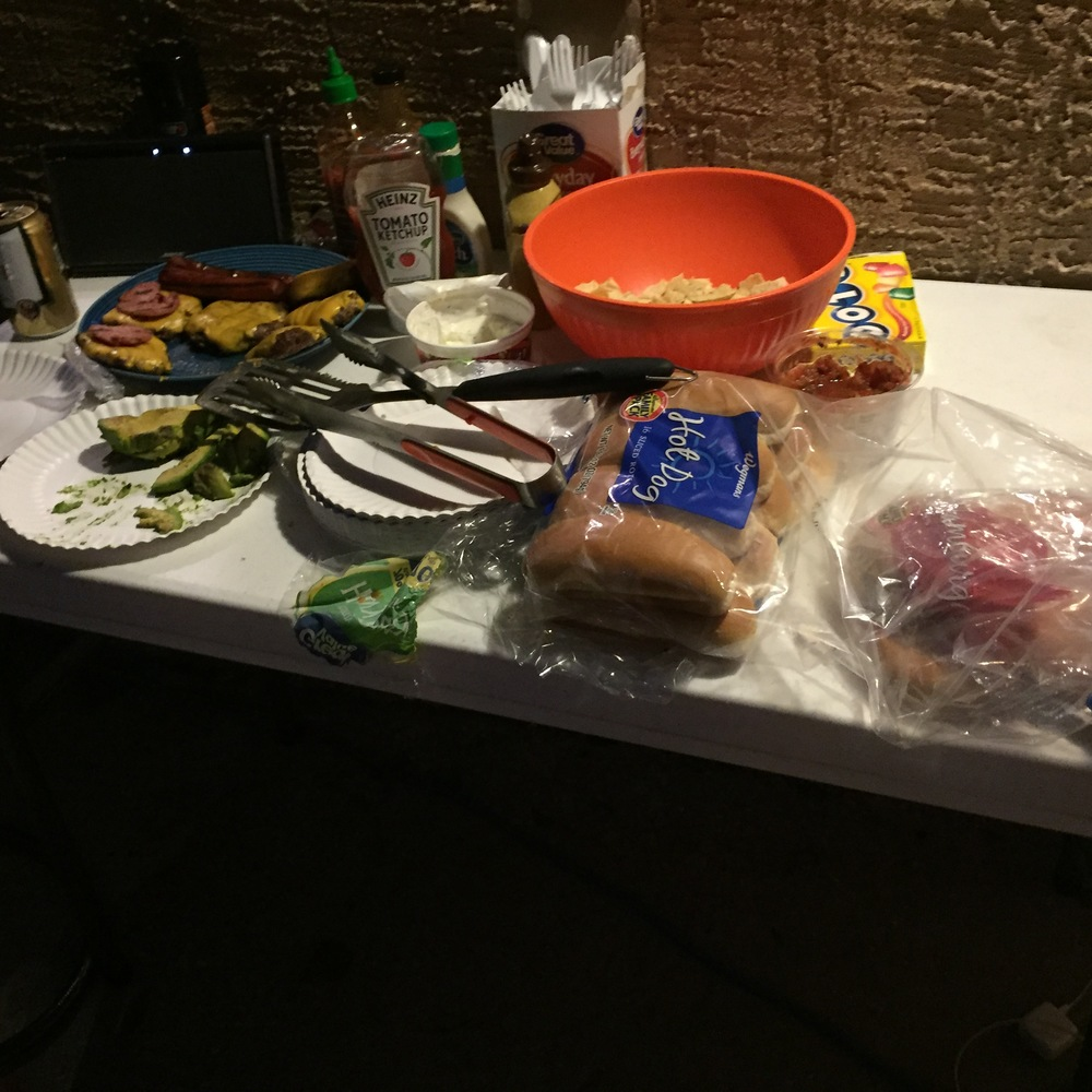 food table at night