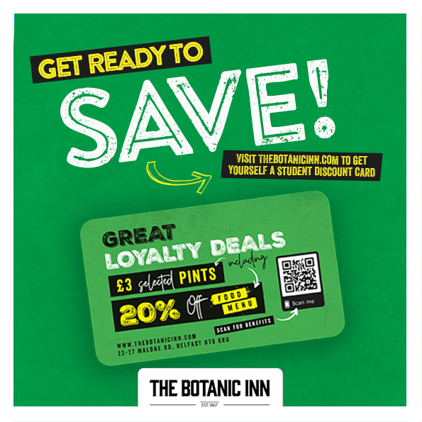 Student Discount Card, The Botanic Inn, Belfast