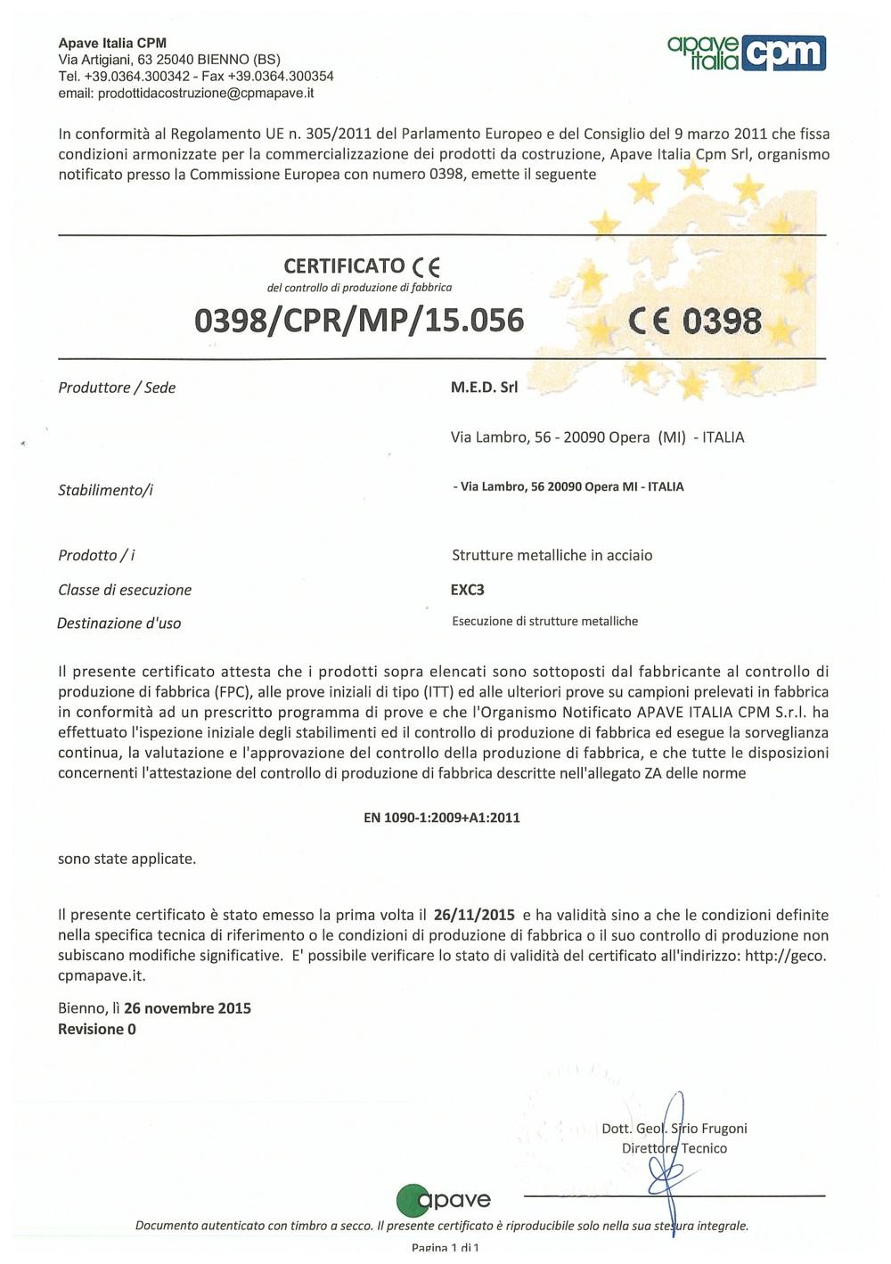 Certificato CE EN1090
