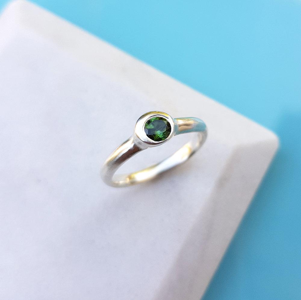 Mabel Hasell - Green Tourmaline silver ring.jpg