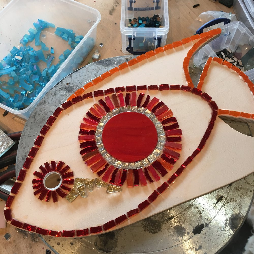 Mosaic fish in progress