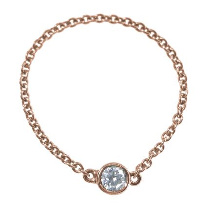 Signature Diamond Chain Ring In 18k Rose Gold Bespoke Fine Jewellery