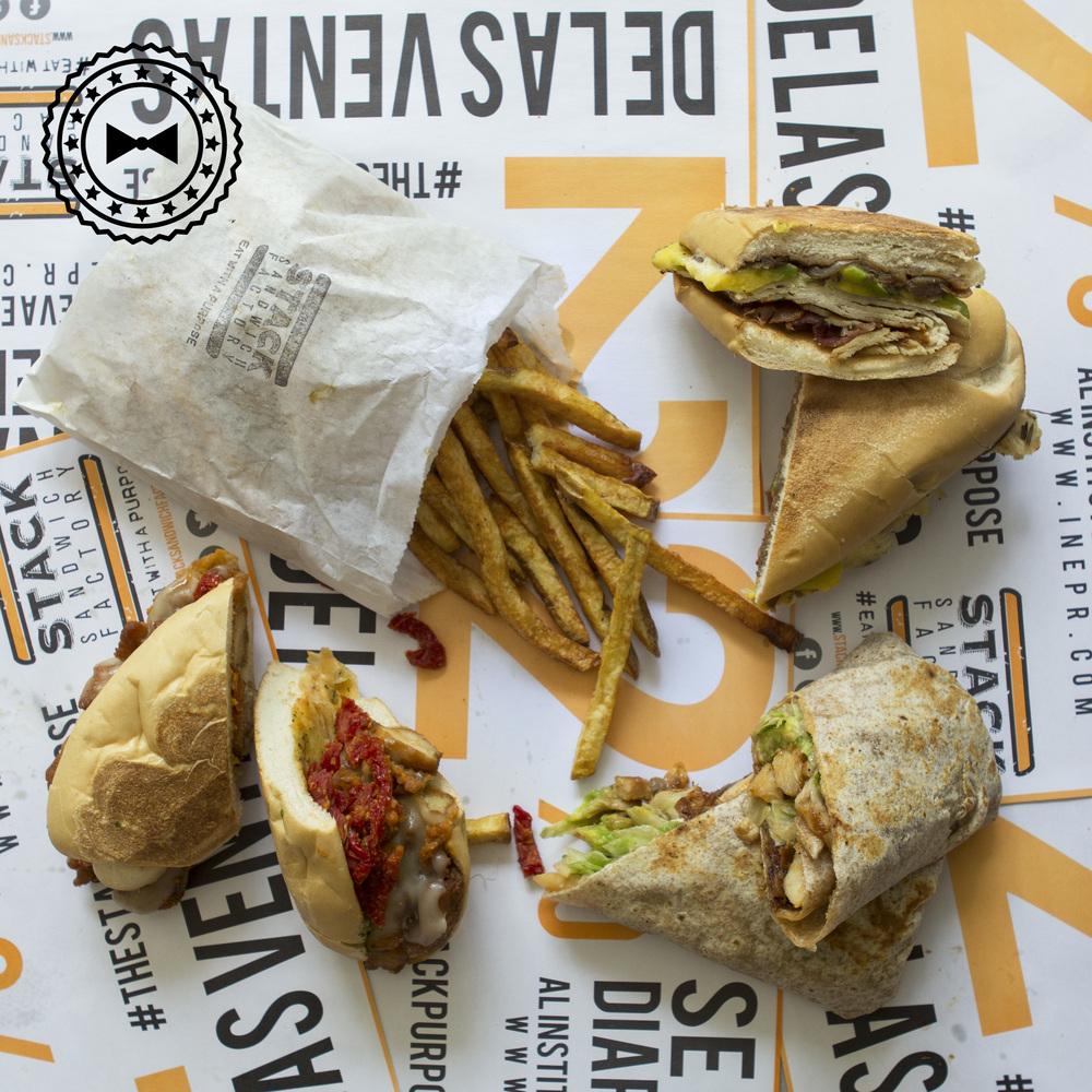 Derecha arriba (manecillas del reloj): Pavo Balsámico, Chicken Avocado Wrap, Chicken Parm y papas fritas.