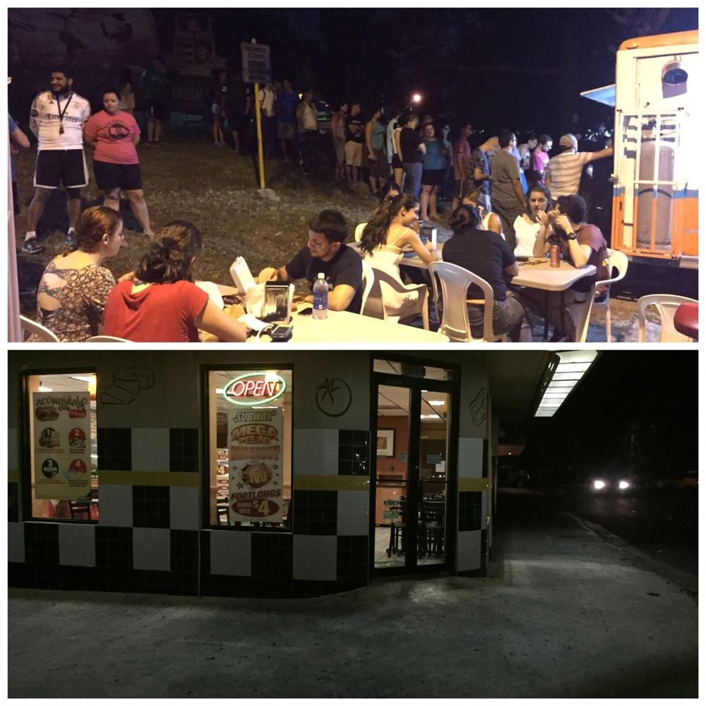Comparación de La Sambuca Foodtruck y Subway el jueves en la noche. Foto subministrada por A. Otero.
