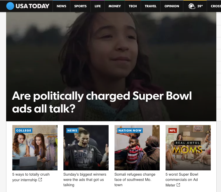 This is a screenshot from Monday when my article was rotating on the usatoday.com home screen banner. My article = bottom left! 😱