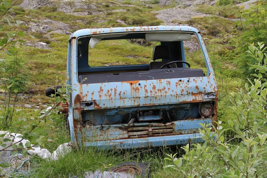 Rusten bil.