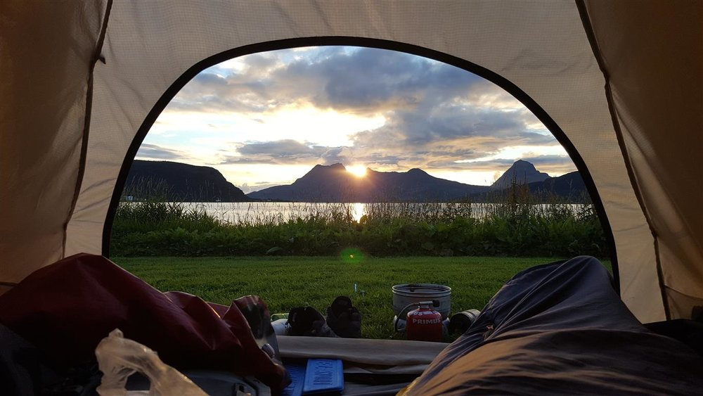 There is a great offer of nice places to camp, both in the nature (right to roam) and at campsites. Here at the campsite in Nesna.