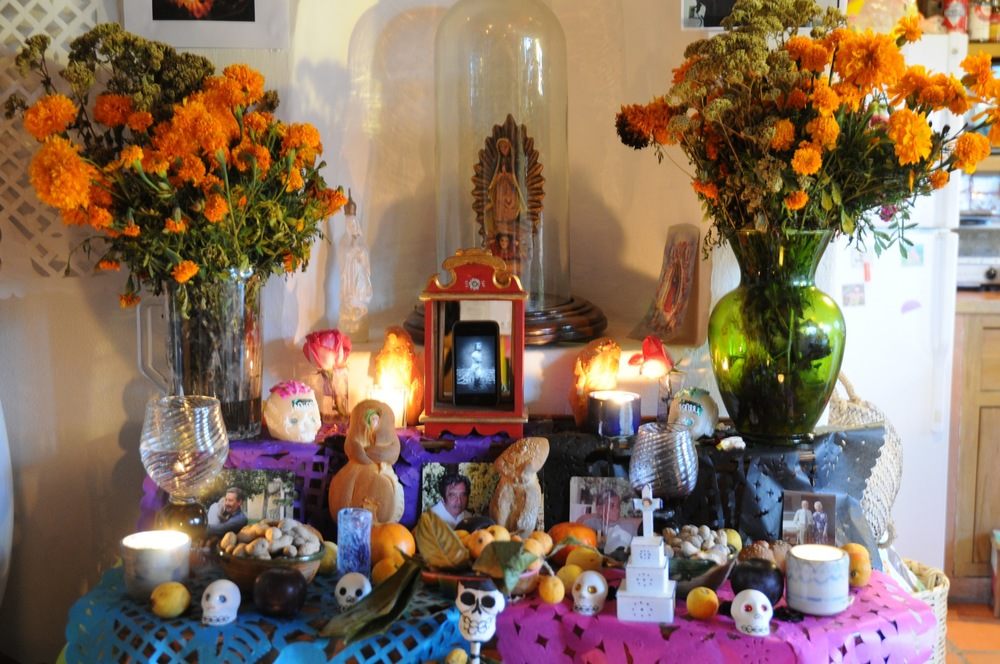 here is a shrine full of color and the traditional Marigolds