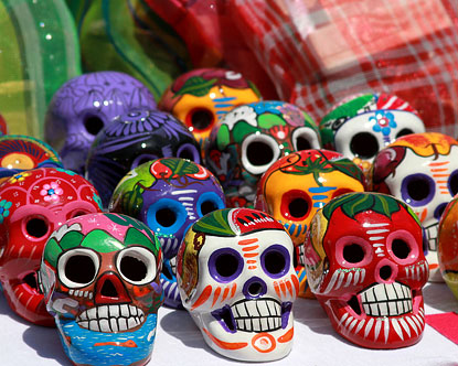 one of the better know Day of the Dead traditions, colorful sugar skulls!