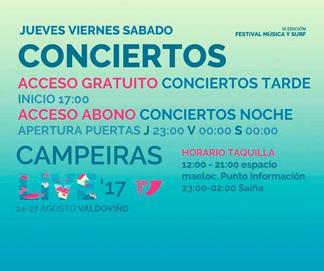 Hoy empiezan los primeros conciertos! A las 23.00 tienes una cita en A PISCINA SAIÑA consigue tu entrada si aún no la tienes en la de de @wegowes o en la propia taquilla, que se empezarán a vender desde hoy! TE ESPERAMOS!!! #campeiraslive #campeiraslive17 #galicia #galifornia #donamusica #donaMúsica #surf #musica #festival #naturaleza