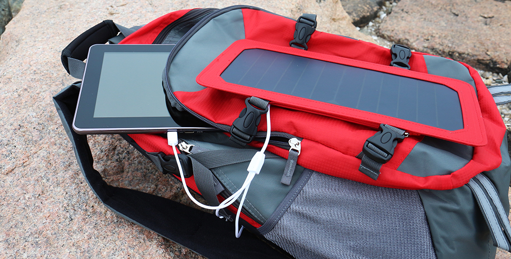 Solar Backpack captures more sunlight than conventional solar panels, which means it generate more electricity per panel.  It goes directly into a large-capacity waterproof emergency power bank/backup battery pack that's rated at 10,000mAh. All the absorbed solar energy is automatically converted and is safely stored for later use. It can store energy for use at night, so you don't need to worry your devices running out of power once the sun goes down.The removable and compact size solar panel charger is designed for portability - just hang it on the backpack when outdoors. Convenient clips make securing the solar panels to the backpack a snap.