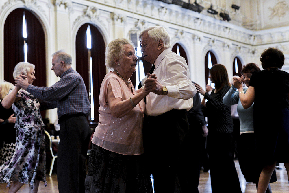 A traditional tea dance is held in London at the Stratford Old Town Hall. March 2015.