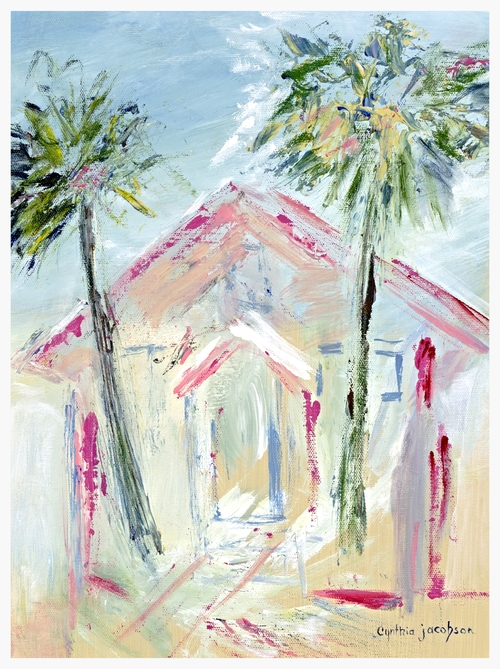 "Beach Cottage   Size: 14"" * 10""   Giclees on stretched canvas or art paper are available for purchase. Contact artist for pricing."