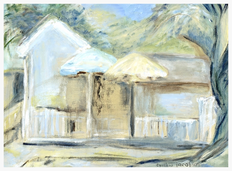 "Florida Bungalow   Size: 21"" * 27""   Giclees on stretched canvas or art paper are available for purchase. Contact artist for pricing."