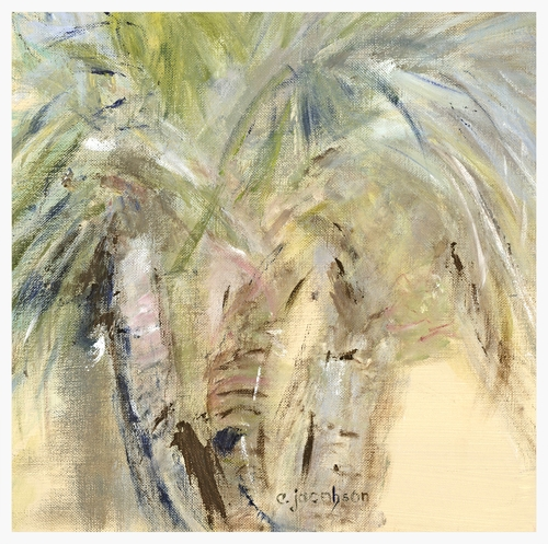 "Palm Study II   Size: 12"" * 12""   Giclees on stretched canvas or art paper are available for purchase. Contact artist for pricing."