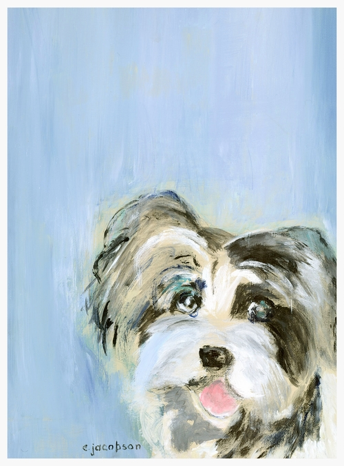"Precious Pooch   Size: 16"" * 12""   Giclees on stretched canvas or art paper are available for purchase. Contact artist for pricing."