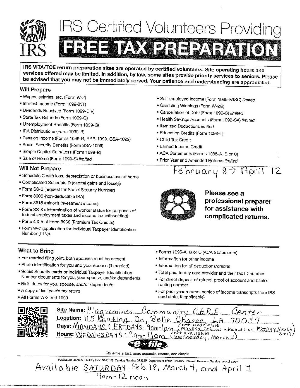 Free tax preparation plaquemines community care centers please see the attached flyer for more information including what documents should be brought with the person hen the walk in for this free service falaconquin