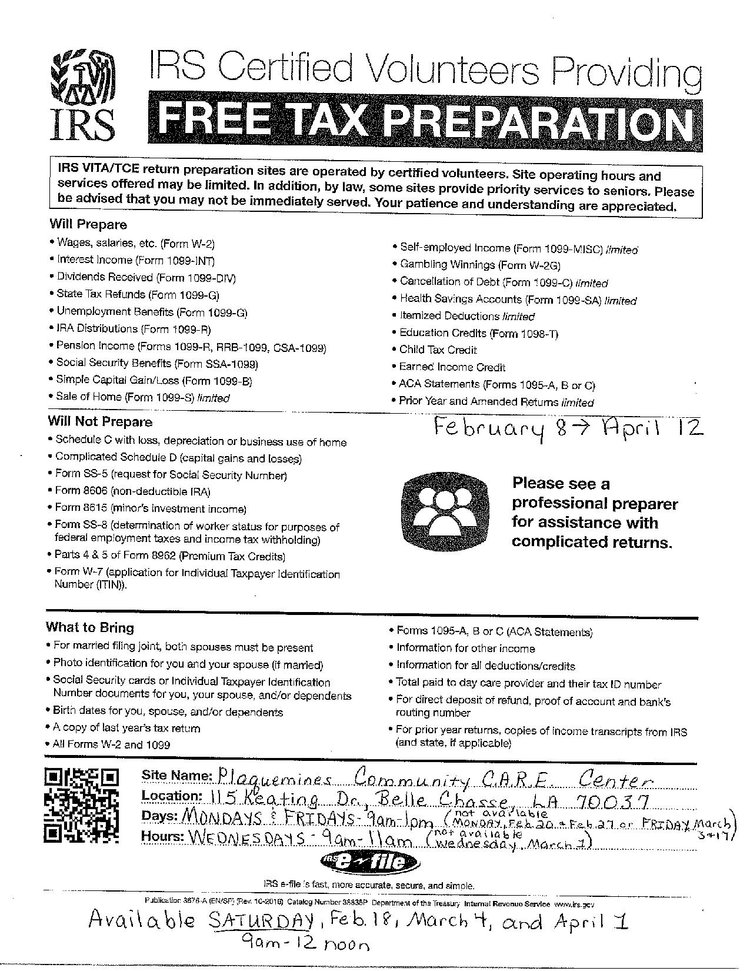 Free Tax Preparation Plaquemines Community Care Centers