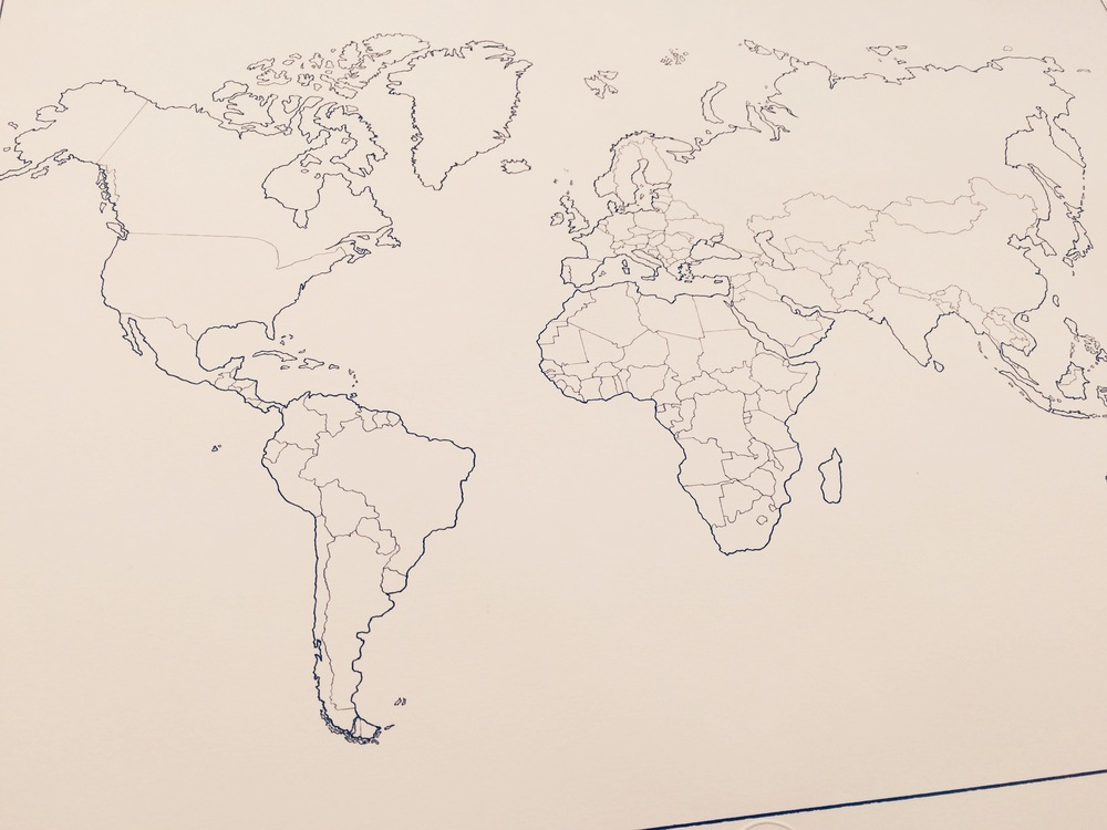 Hand Drawn Map Of The World.World Map J Peters Fine Mapping Co