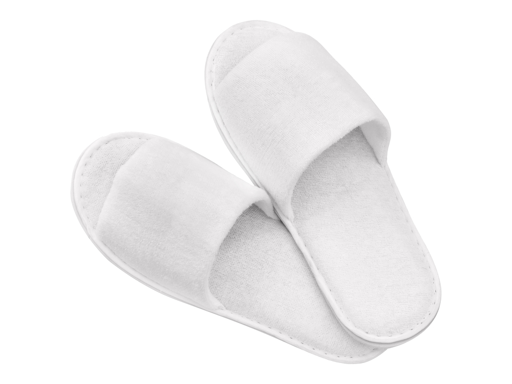 photo of open toe hotel slippers