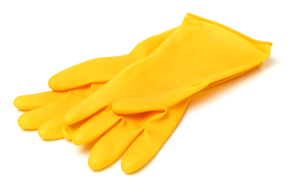 photo of yellow cleaning gloves