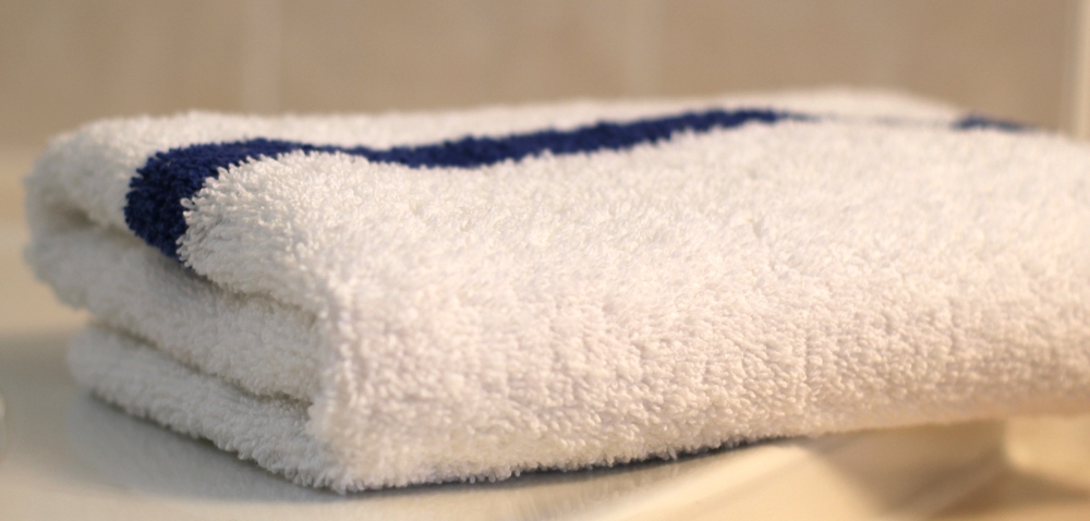 hotel blue stripe pool towel