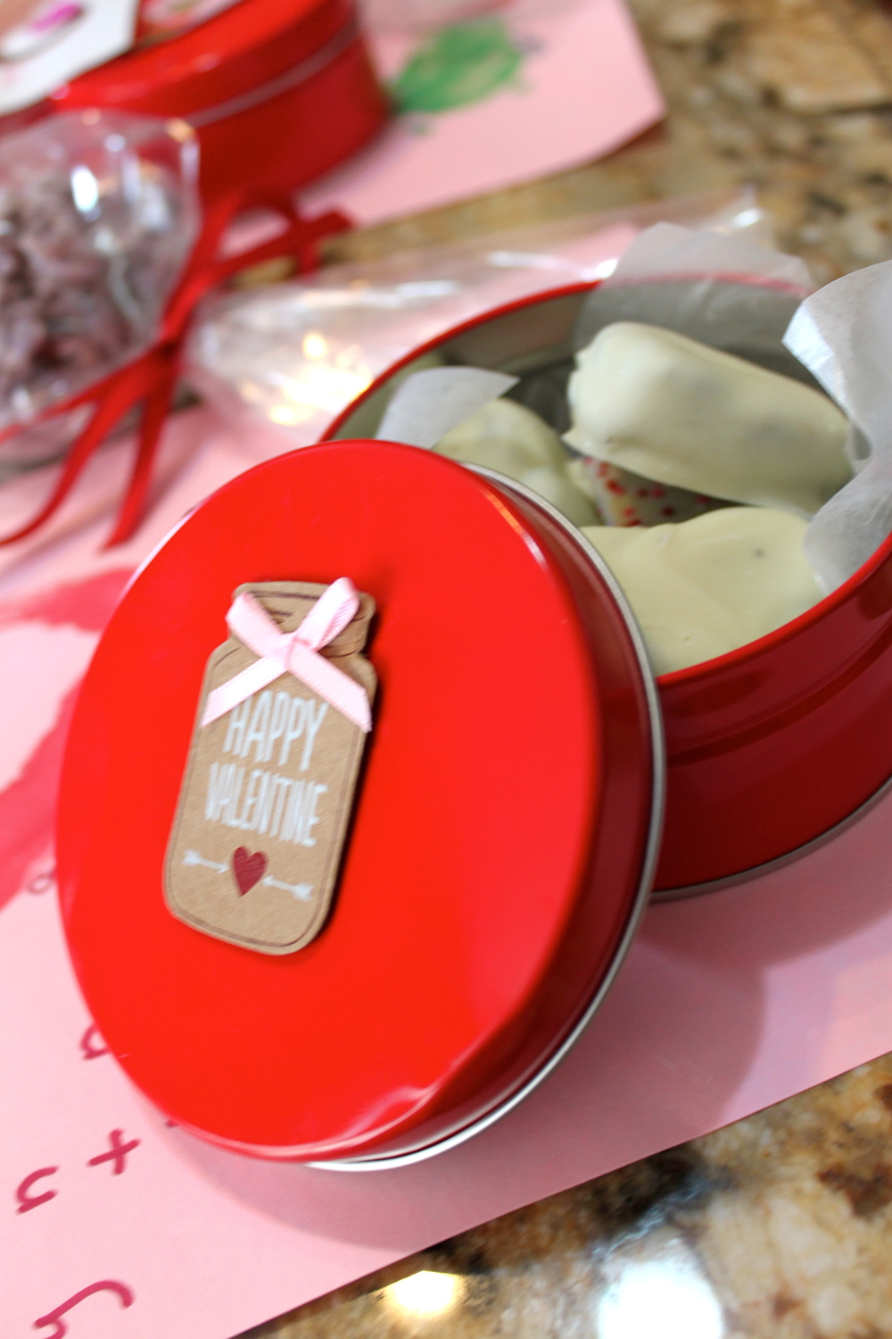 Tin of cookies for kids valentines day