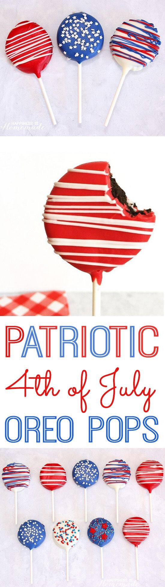 Oreo pops are always so fun and easy! Tutorial here:  http://www.happinessishomemade.net/2015/06/11/patriotic-oreo-pops-for-4th-of-july/