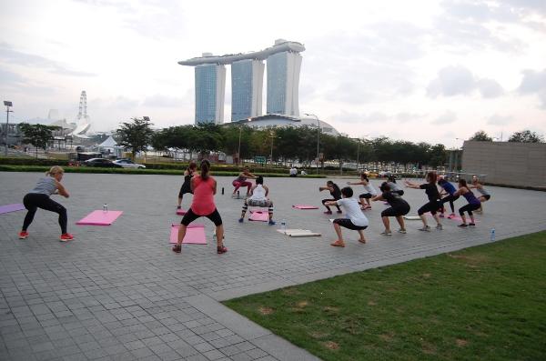 Teaching class near Marina Bay Sands in Singapore