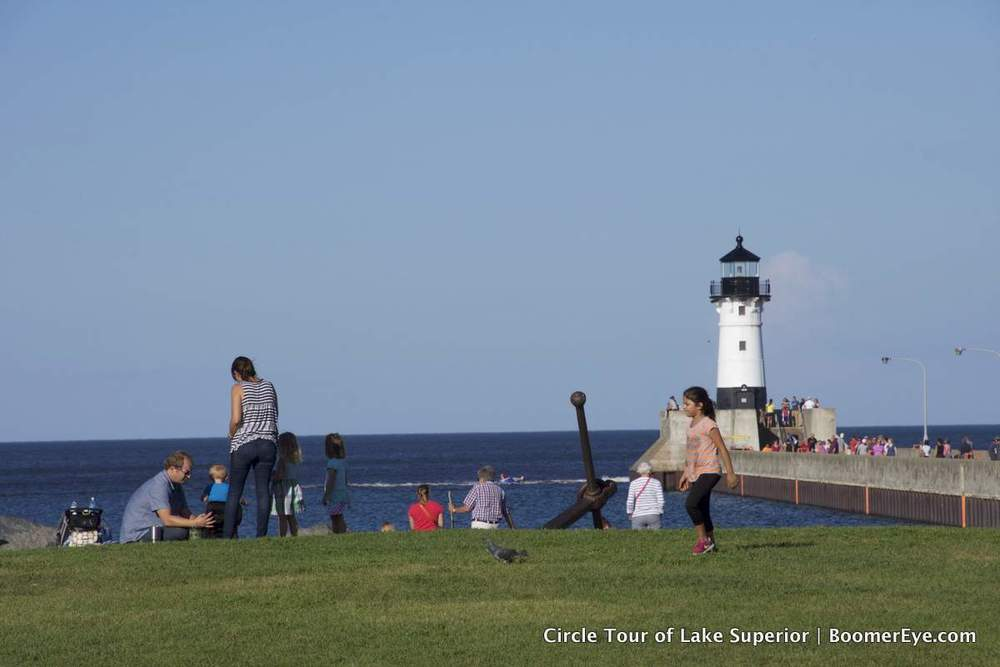 Duluth Harbor has two lighthouses at the end of the breakwater. This is the one on the