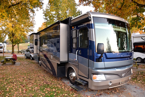 ONE of the MANY RV PARKS KNGABLU ENJOYED This was well into our motorhome adventure but it's one of my favorite visuals of KngaBlu. Here she sits nestled by autumn leaves in Virginia late October / early November last year. One of the lovely things about motorhome life, is the changing view from day to day or week to week or month to month. We got to decide when it was time to change it. KngaBlu, we have truly loved our time aboard you -- living and traveling.