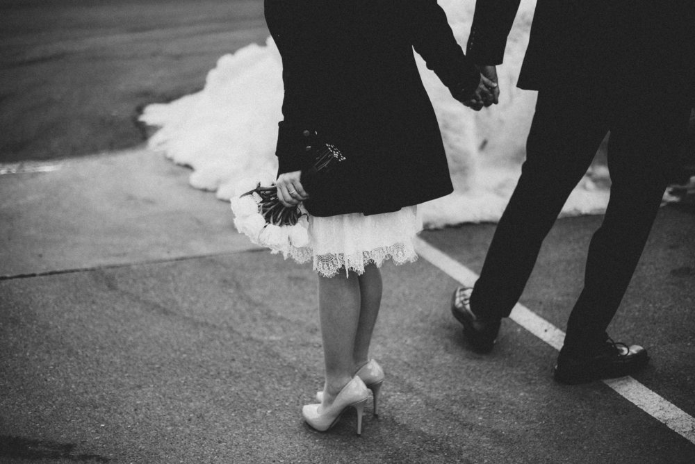 Black & White Brewhouse Winter Elopement
