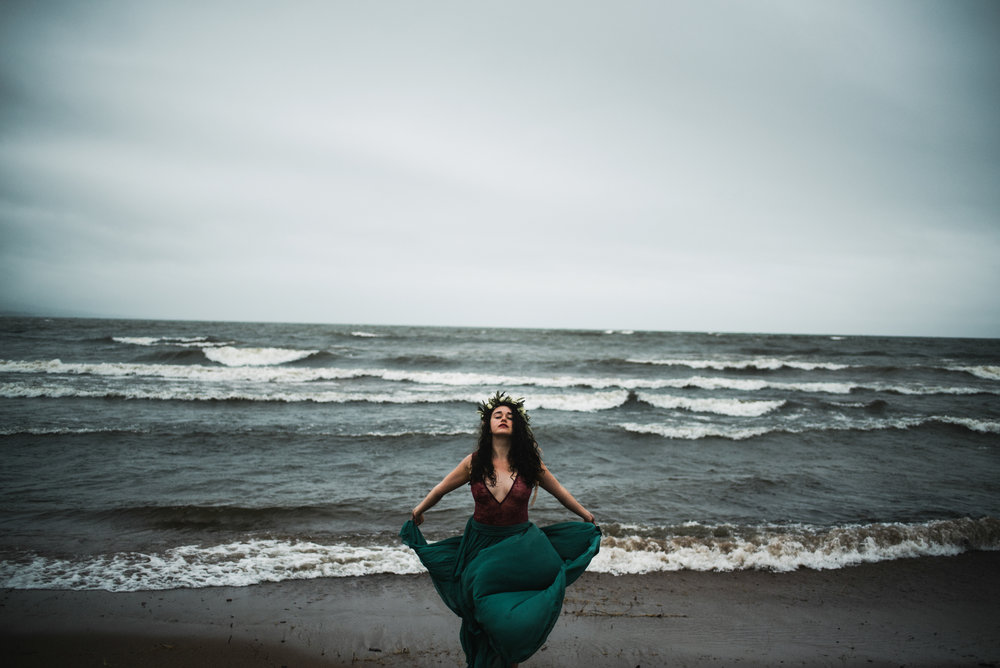 Clare Boudoir Storming Lake Superior Boudoir Session Duluth Minnesota White Sails Creative