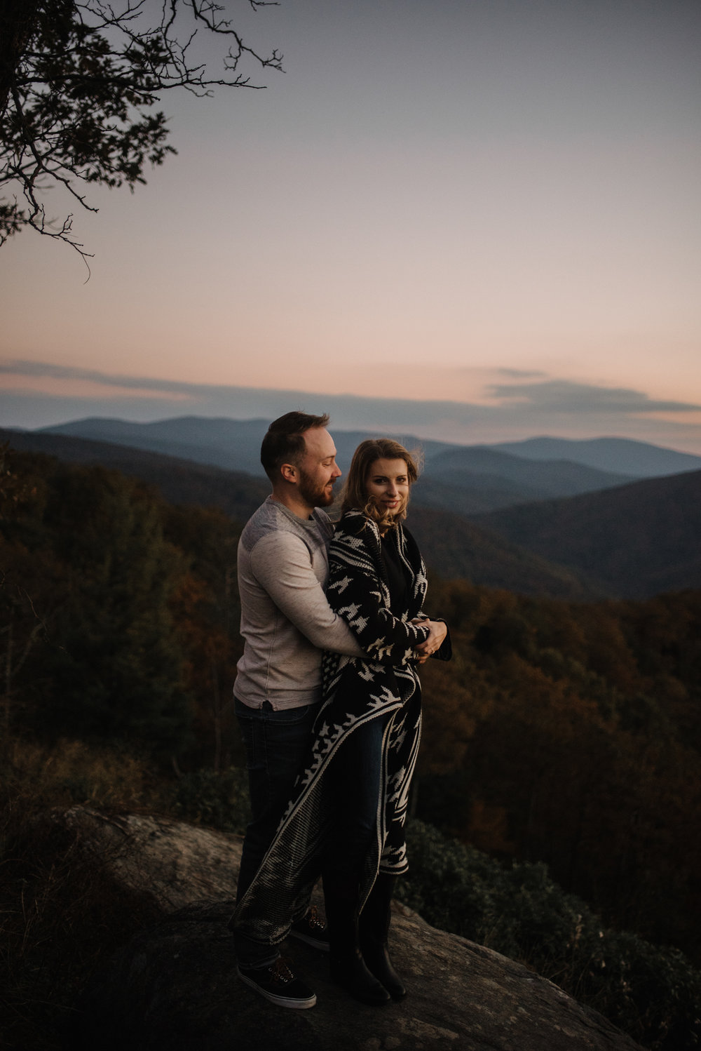 Macy and Mark - Shenandoah National Park - Fall Autumn Sunrise Couple Adventure Session - White Sails Creative - Mini Session_3.JPG