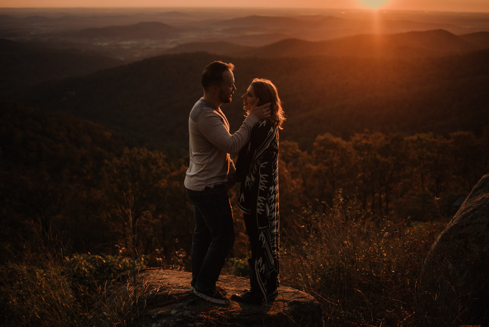Macy and Mark - Shenandoah National Park - Fall Autumn Sunrise Couple Adventure Session - White Sails Creative - Mini Session_16.JPG