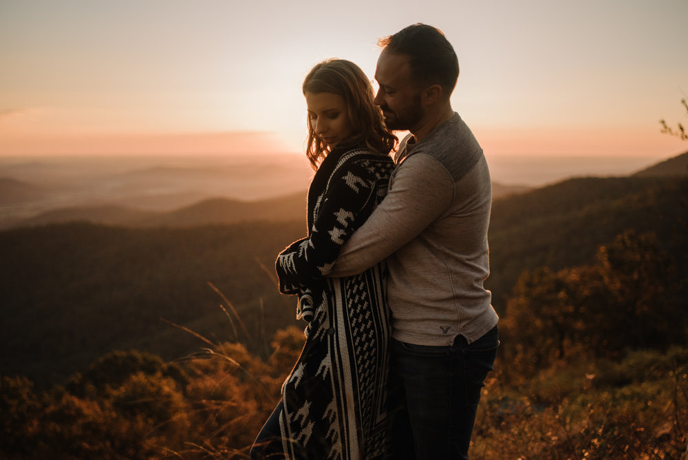 Macy and Mark - Shenandoah National Park - Fall Autumn Sunrise Couple Adventure Session - White Sails Creative - Mini Session_18.JPG