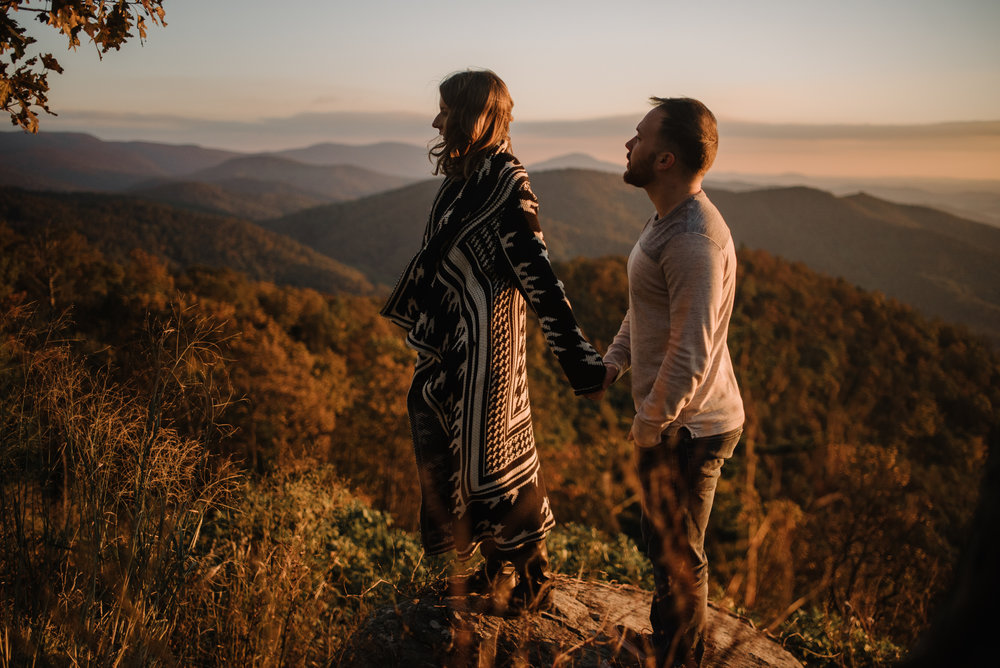 Macy and Mark - Shenandoah National Park - Fall Autumn Sunrise Couple Adventure Session - White Sails Creative - Mini Session_22.JPG