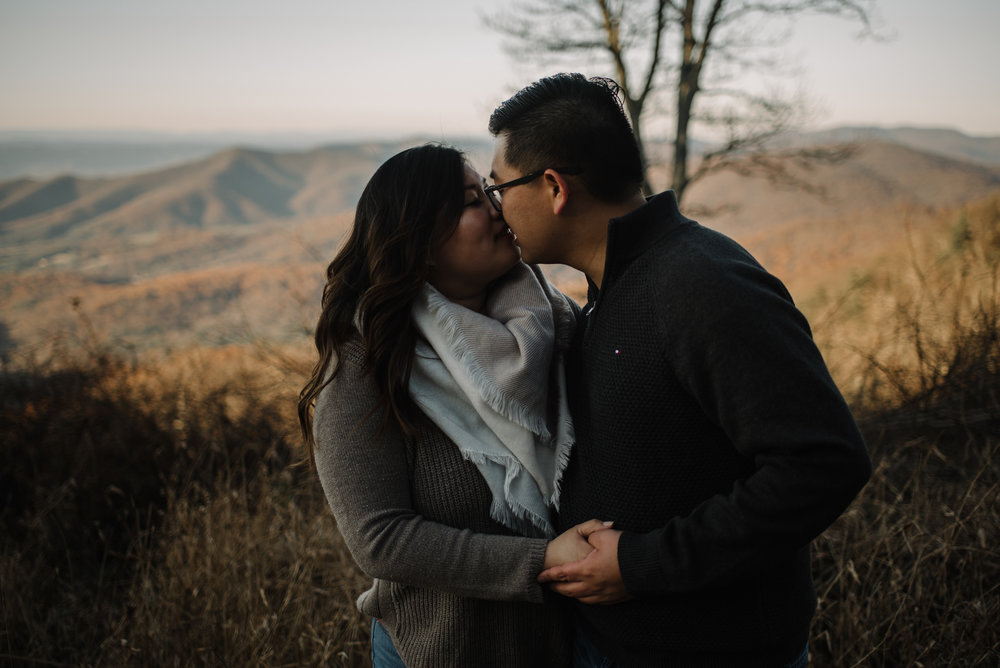 Joshua and Kristina - Shenandoah National Park - Skyline Drive - Winter Engagement Session Photographer - White Sails Creative_21.JPG