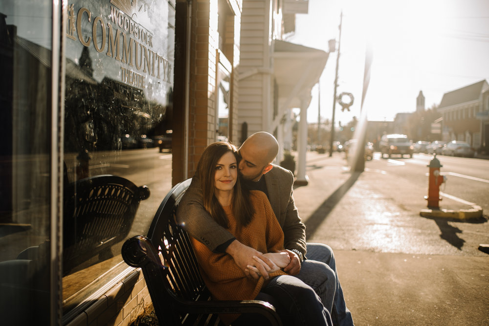 Emily and Hoyle - Shenandoah Valley Engagement Session - Winter Sunset - Downtown Old Movie Theater - Back yard Virginia Farm Wedding_3.JPG