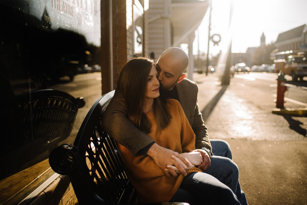Emily and Hoyle - Shenandoah Valley Engagement Session - Winter Sunset - Downtown Old Movie Theater - Back yard Virginia Farm Wedding_5.JPG