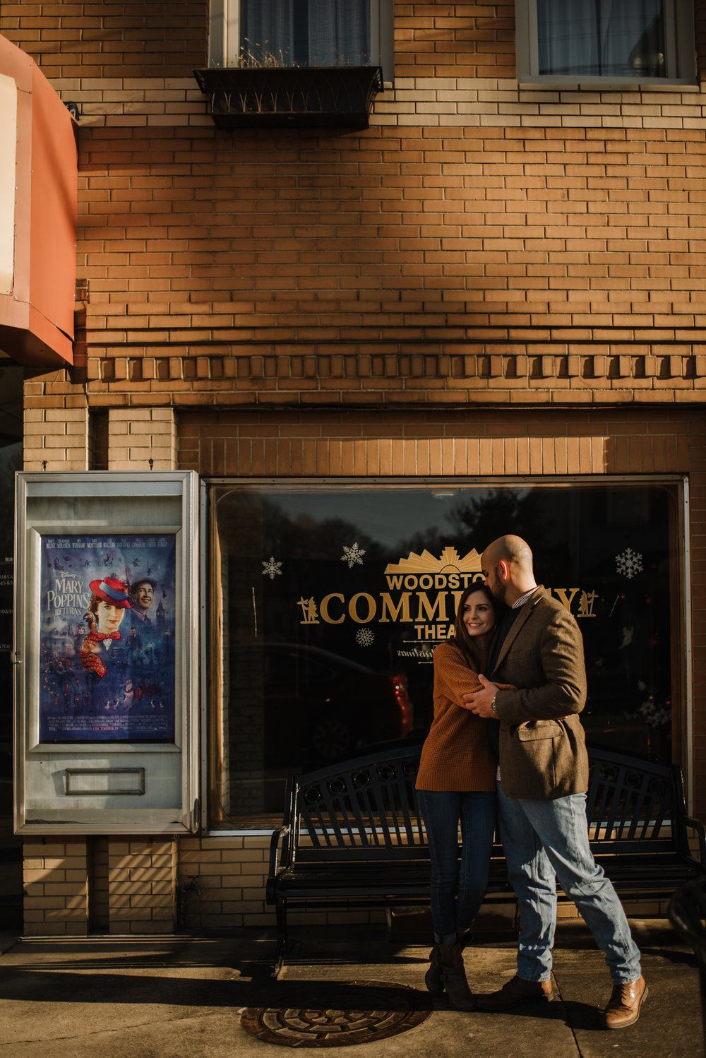 Emily and Hoyle - Shenandoah Valley Engagement Session - Winter Sunset - Downtown Old Movie Theater - Back yard Virginia Farm Wedding_6.JPG