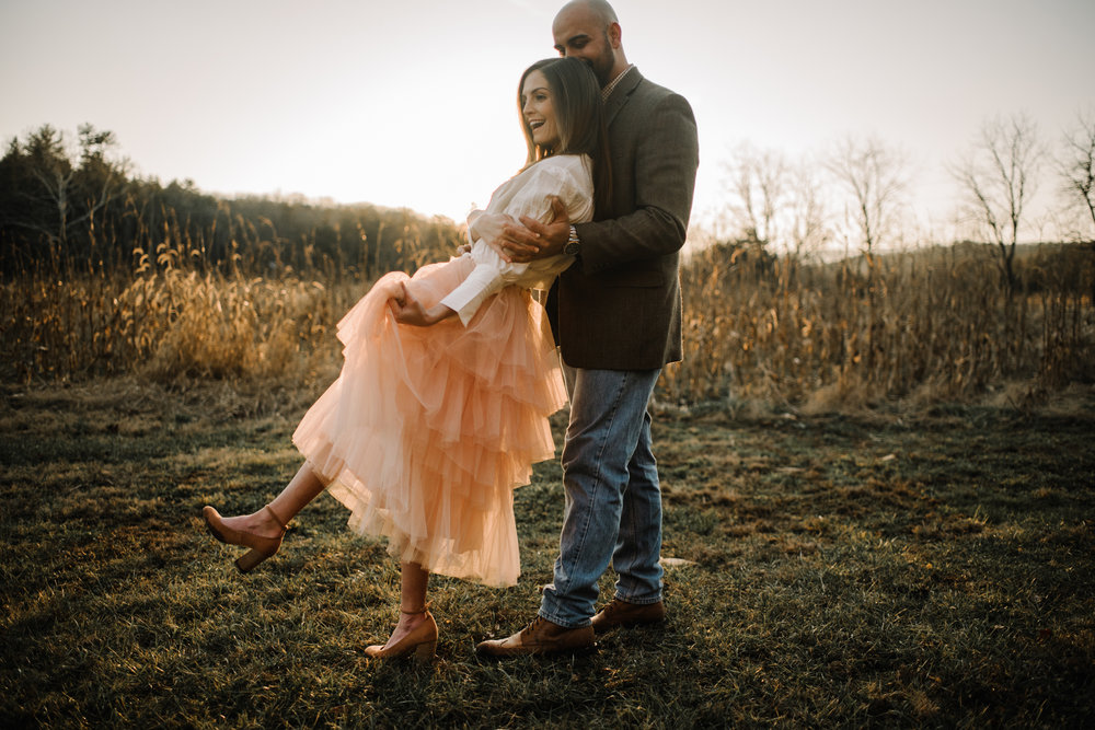 Emily and Hoyle - Shenandoah Valley Engagement Session - Winter Sunset - Downtown Old Movie Theater - Back yard Virginia Farm Wedding_15.JPG