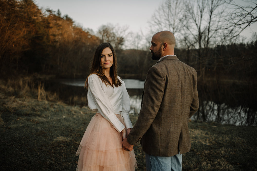 Emily and Hoyle - Shenandoah Valley Engagement Session - Winter Sunset - Downtown Old Movie Theater - Back yard Virginia Farm Wedding_29.JPG