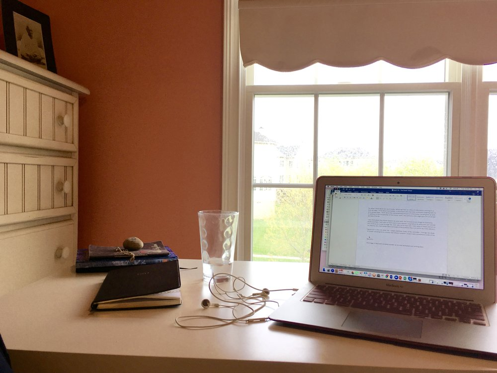 My new writing space in my tweenage bedroom (haha)
