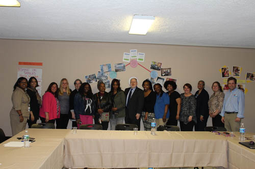 Assistant Secretary Mark Greenberg (center) with parents and staff including CEO Henry Wilde (far right) and Camden/Philadelphia Executive Director Victoria Ankrah (far left)